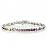 Multi-colored Sapphire Bracelet, 6.22 Cts. 14K White Gold