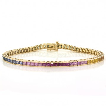 7.45 Cts. 14K Yellow Gold Multi-Colored Sapphire Bracelet