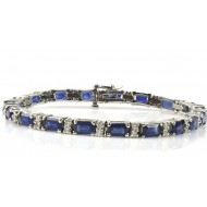 12.95 Cts. 18K White Gold Blue Sapphire and Diamond Bracelet