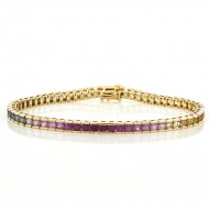 8.50 Cts. 14K Yellow Gold Multi-Colored Sapphire Bracelet