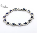 Blue Gem Stones and Diamond Braclet total8.09 cts set in 18k white gold