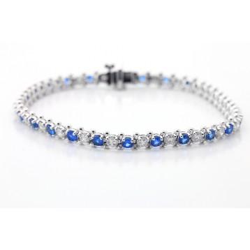 Diamond and Sopphire Tennis Bracelete set in 14K White Gold