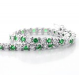 Emerald and Diamond Tennis Bracelete set in 14K White Gold