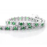 Emerald and Diamond Tennis Bracelete set in 14K White Gold