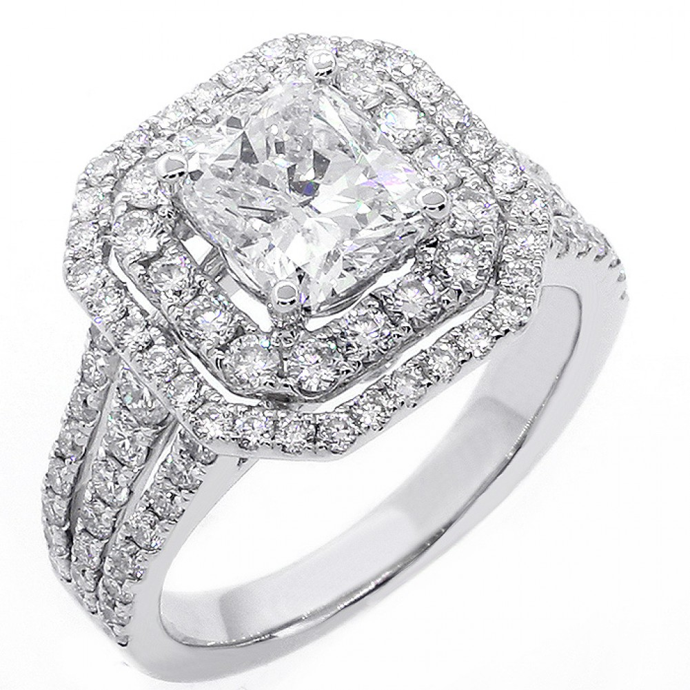 134 Cushion Cut Double Halo Diamond Engagement Ring