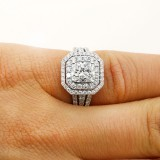 1.34 cushion cut double halo diamond engagement ring