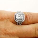 1.34 cushion cut double halo diamond engagement ring