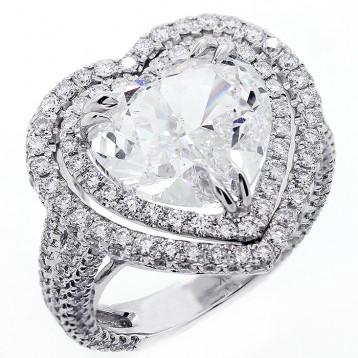 8.58ctw Heart/Round Cut Diamond Halo Ring 18K White Gold