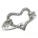 0.25 Cts. 14K White Gold Diamond Heart Cocktail Ring