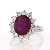3.38CT Oval Cut Ruby and Diamond 18KT White Gold Ring