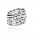 9 Row Ocean Wave Diamond Right Hand Ring