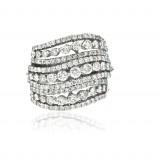 9 Row Ocean Wave Diamond Right Hand Ring