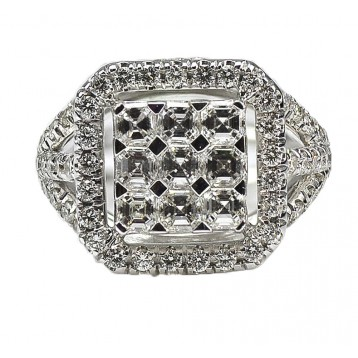 2.16 Ct. Asscher & Round Cut Diamond Ladies Ring