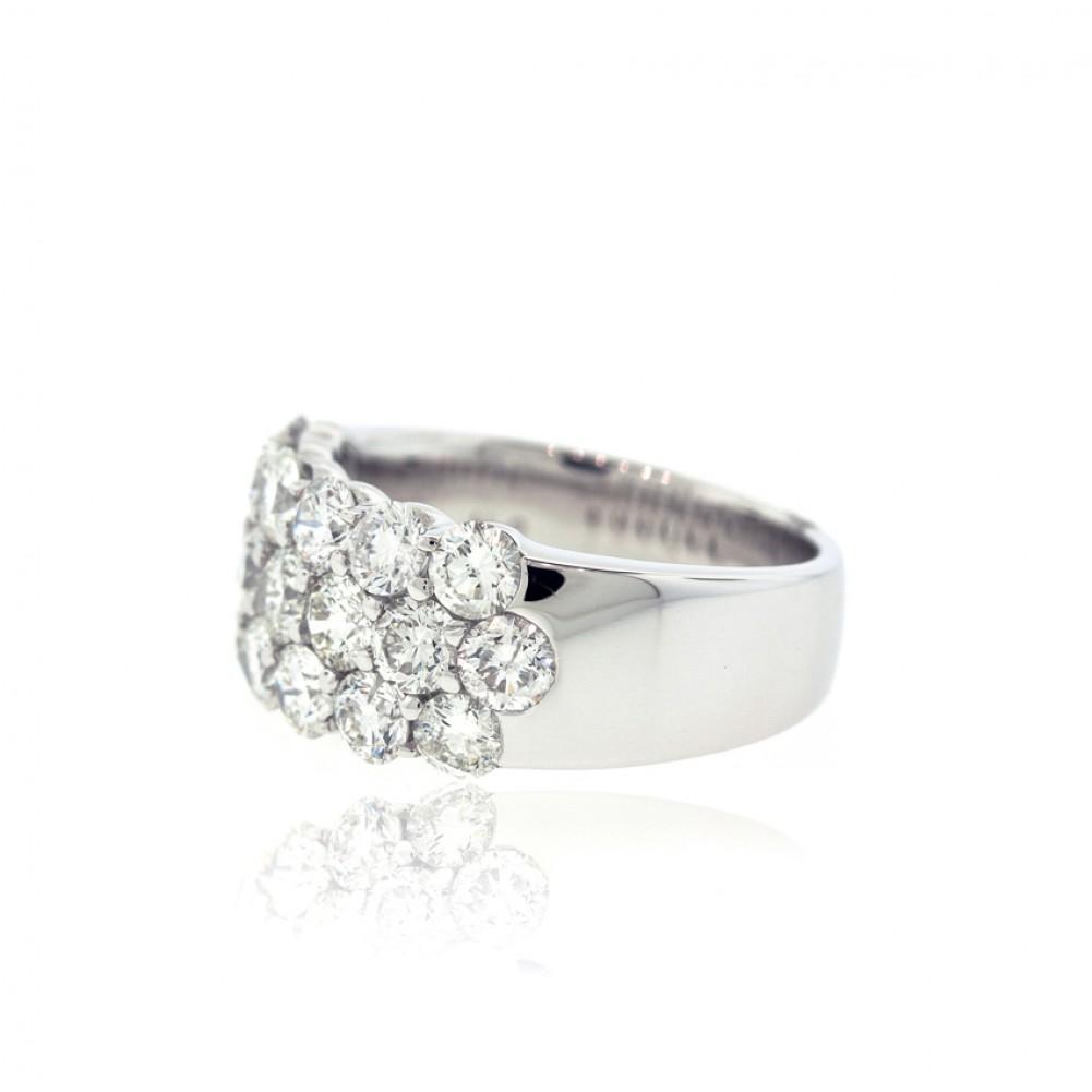 3 Row Round Diamond Ring