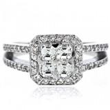 Asscher & Round Cut Diamond Ladies Ring