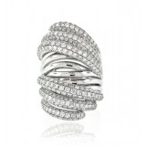 Unusual  Extra Wide Twist Pave Diamond Ring
