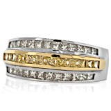 0.79CT TW  Yellow  Princess Cut Diamond Ring,18K White Gold
