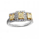 0.51 Cts. 18K White Gold Fancy Yellow Diamond Right Hand Ring