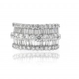 Alternating Rows of Round and Baguette Diamonds Ring