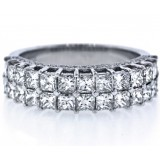 2 Row Princess Cut Diamond Wedding Band 2.30Cts tw