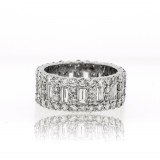 4.90CT Baguette and Round Wide Diamond Eternity Band