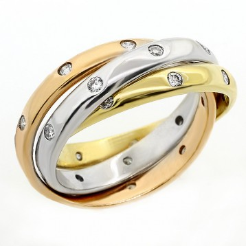 0.65 CTS TRINITY RING SET IN 14K PINK WHITE YELLOW GOLD