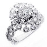 2.00 CTS DIAMOND COCKTAIL RING SET IN 14K WHITE GOLD