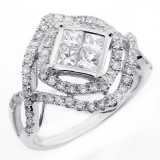 1.69 CTS DIAMOND COCKTAIL RING SET IN 14K WHITE GOLD