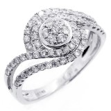 0.71 CTS DIAMOND COCKTAIL RING SET IN 14K WHITE GOLD