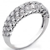 Two Line 14K White Gold Round Cut Diamond Ring 1.32 CT