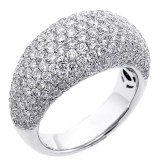3.32 Cts Micro-pave round cut diamond cocktail ring set in 18K white gold