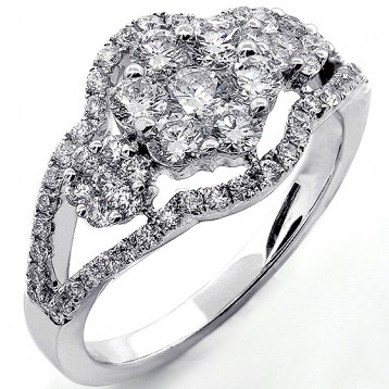 1.28 Cts Diamond Cocktail Ring Set in18K White Gold