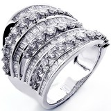 2.34 Cts  Baguette and Round Cut Diamond Fancy Ring set in 14K White Gold