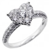 Round Cut Diamonds Heart shaped Fancy Ring total of1.35 cts set in 18K White Gold