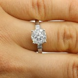 1.12 Ct Round Cut Diamond Engagement Ring set in 18K White gold