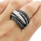 2.96 Cts Black and White Diamond Cocktail Ring set in 18K white gold