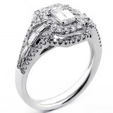 Engagement Ring Emerald Cut Diamond Set in 18K White Gold
