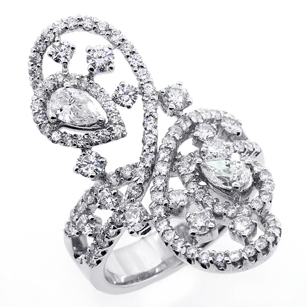 227 CTS UNIQUE DESIGN BIG DIAMOND COCKTAIL RING SET IN 18K WHITE