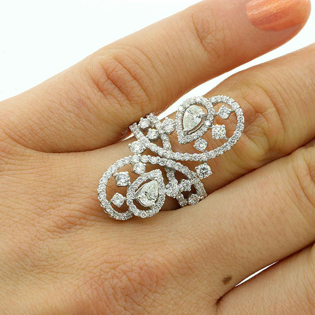 2.27 CTS UNIQUE DESIGN BIG DIAMOND COCKTAIL RING SET IN 18K WHITE ...