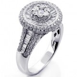 1.71 Cts Round and Baguette  Diamond Cocktail Ring set in 18K White Gold