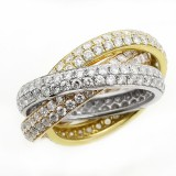 3.90 CTS TRINITY DIAMOND RING SET IN 18K PINK YELLOW WHTE GOLD