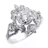 1.32 Cts Diamond cocktail Ring set in 14K white gold