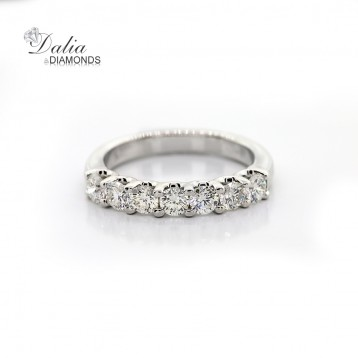 0.95 Cts Round Cut Diamond Wedding Band set in 14K White Gold