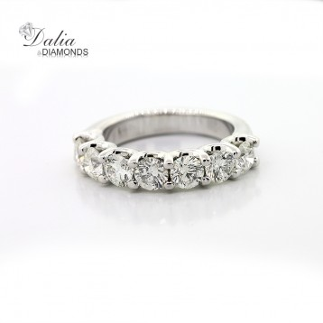 2.01 Cts Round Cut Wedding Band set in set 14K White Gold