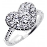 Heart shaped fancy ring with total of 1.39 cts set in 18kt white gold