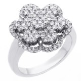 1.13 Cts Round Cut Floral Design Cocktail Ring set in 18k white gold