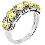 Five Stone Ring with Round Brilliant Cut Fancy Yellow 5.80 Ctw Diamonds set in 18k white gold