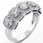 1.98 Ct. Diamond Five-Stone Halo Ring set in 18K White Gold