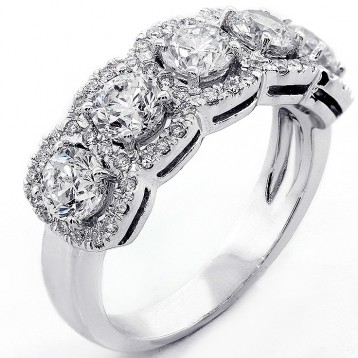 1.98 Ct. Five-Stone Halo Ring set in 18K White Gold