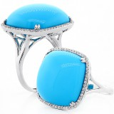 15.48 Ctw Cushion Cut  Turquoise Gem Stone Halo Ring Set in 18K White Gold